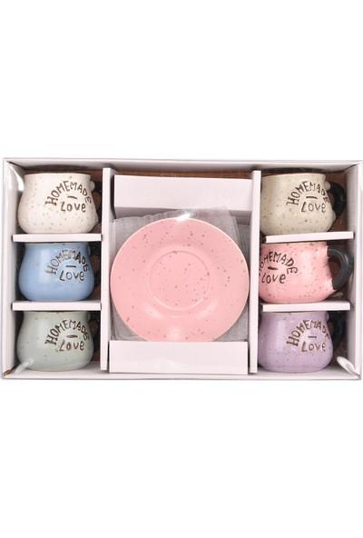 Bimbambom Pastel Renkli Seramik Fincan Takımı 11193, Şık Bombeli 6'lı Fincan Seti