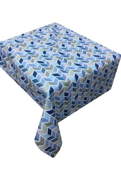 Derinteks Mavi Renk Kareler Dertsiz Masa Örtüsü 100 x 100 cm