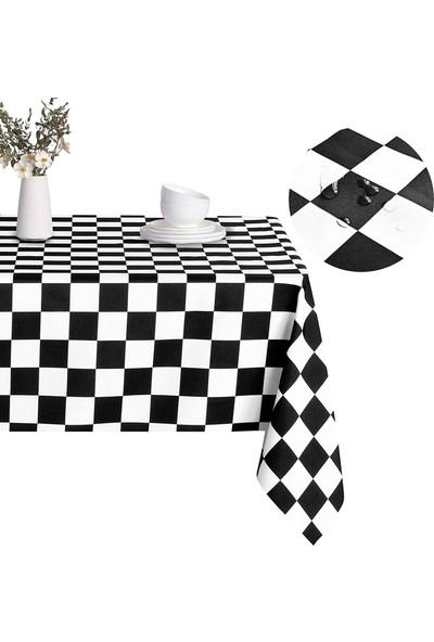 Derinteks Siyah Dama Desen Leke Tutmaz Dertsiz Masa Örtüsü 100 x 100 cm