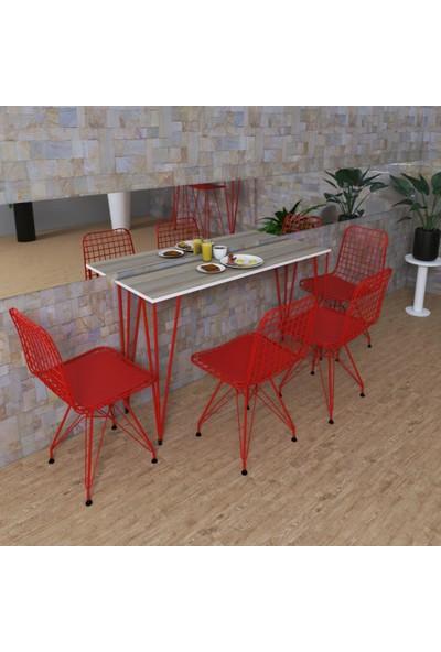 Knsz Masa Sandalye Takımı Huve Crdkrm 140*040 4 Sandalye Krmkrm