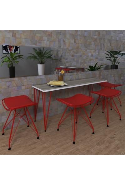 Knsz Masa Tabure Sandalye Takımı Cim Crdkrm 140*040 4 Tabure Krmkrm
