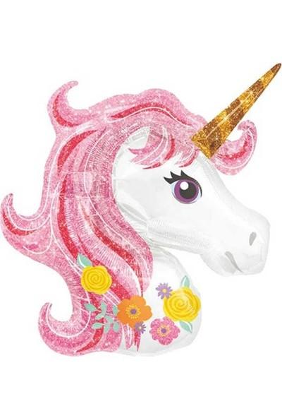Parti Furyası Unicorn Temalı Folyo Balon 50 cm Pembe