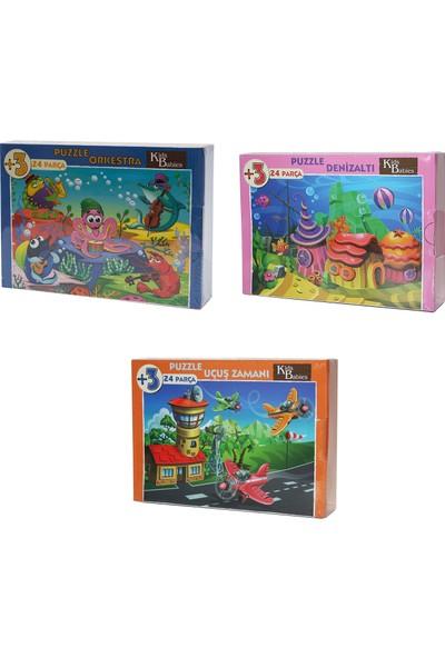 Gazi Yalçın Çocuk Puzzle 3'lü 24 Parça -Denizaltı + Orkestra + Uçuş Zamanı