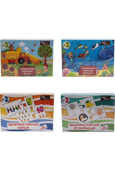 Gazi Yalçın Çocuk Puzzle 4'lü Eşleştirme Kartları -Çiftlik + Denizaltı +Sayılar + Zıt Kavramlar
