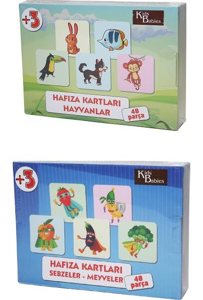 Gazi Yalçın Çocuk Puzzle 2'li Hafıza Kartları -Hayvanlar + Sebzeler Meyveler