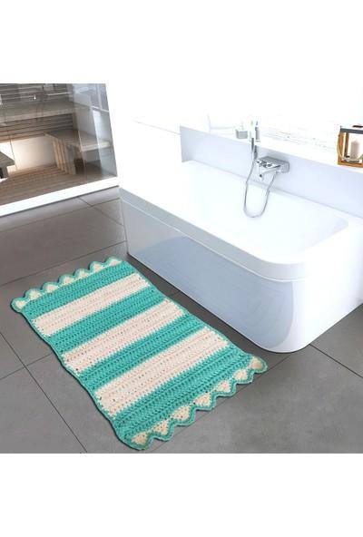 Nuh Home Banyo Halısı & Banyo Paspası Mavi Beyaz El Yapımı Banyo Halısı