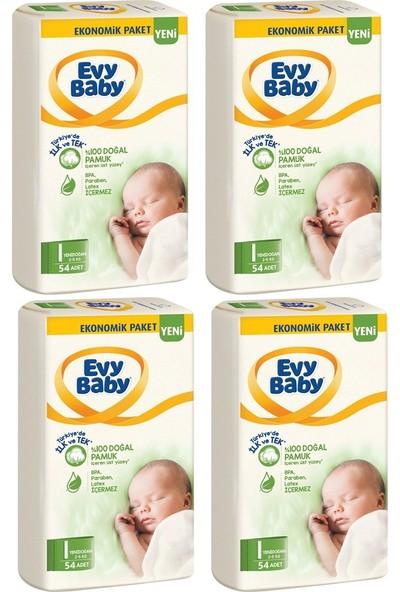 Evy Baby Bebek Bezi 1 Beden/numara Yenidoğan Fırsat Paketi 54'lü x 4 ( 216'LI )