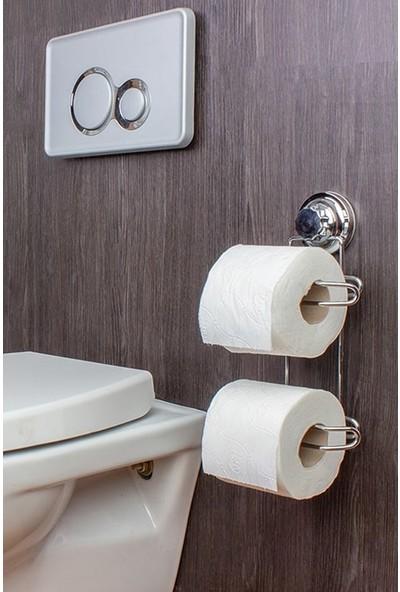 Kaya Store Lüx Metal Krom Kaplama Vakumlu Çiftli Tuvalet Kağıtlığı