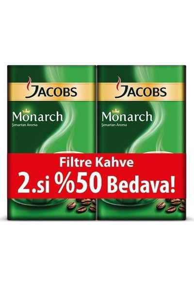 Jacobs Monarch Filtre Kahve 500 gr 2'li + 3 Adet Kahve Bardağı