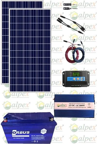 Lexron 1200 Watt Tv Aydınlatma Bağ Evi Güneş Enerjisi 170W Solar Paket