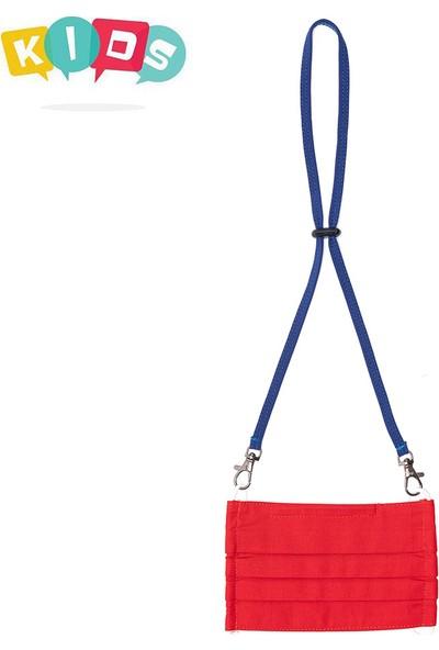 Mutlu Maske Kırmızı Renkli Konfor Modeli 3 Katlı Telli Yıkanabilir Pamuklu Kumaş Boyun Askılı Çocuk Maskesi