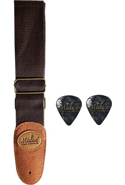 Midex ASM36-BRN Brown Ukulele ve Gitar Askısı (Pena Hediye)