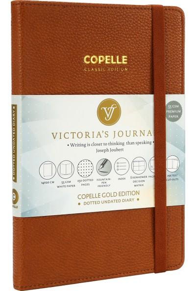 Victoria's Journals Copelle Gold Defter Noktalı 14 x 21 cm Kahverengi