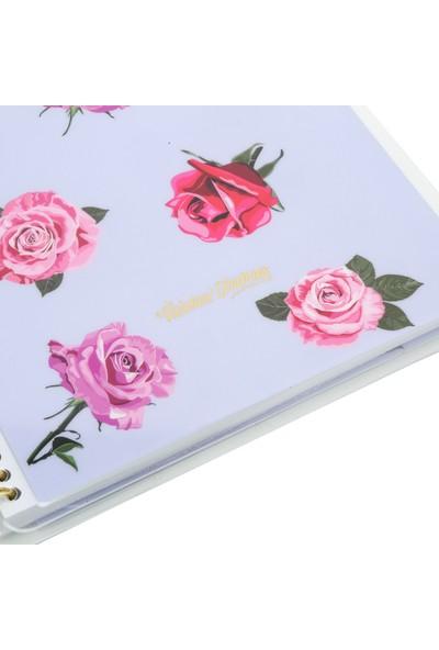 Victoria's Journals Polka Rose Spiralli Noktalı Defter 16,5 x 21,5 cm Mavi