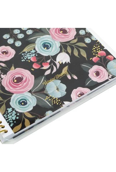 Victoria's Journals Spring Garden Spiralli Noktalı Defter 16,2 x 21,5 cm Siyah