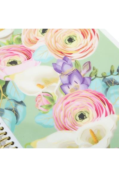 Victoria's Journals Spring Garden Spiralli Noktalı Defter 16,2 x 21,5 cm Yeşil