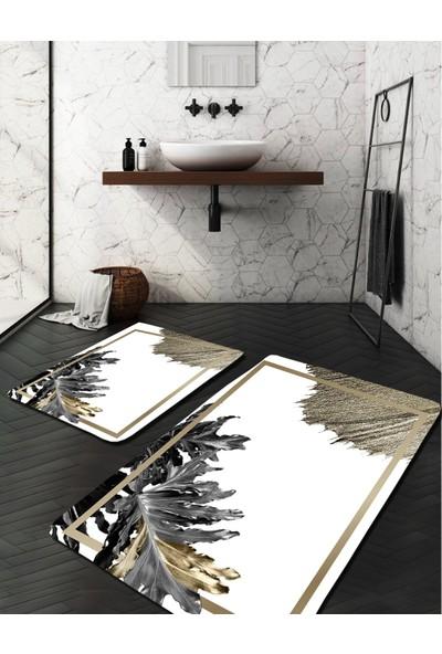 Evimod Siyah Beyaz Gold Yapraklı Modern Yıkanabilir 2li Banyo Halısı Paspas