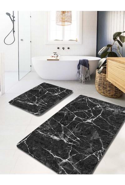 Evimod Dark Marble Siyah Beyaz Mermer Desenli Yıkanabilir 2li Banyo Halısı Paspas Klozet Takımı