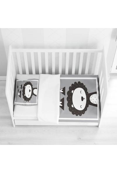 Else Halı Else Dağlar Aslanlı Siyah Beyaz Gri Desenli Bebek Nevresim Takımı