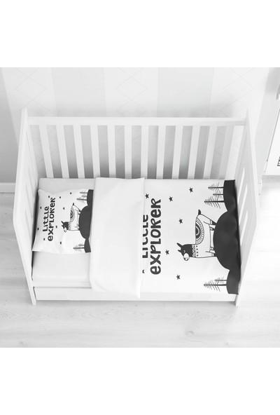 Else Halı Else Küçük Kaşif Lama Siyah Beyaz Desenli Bebek Nevresim Takımı