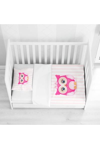 Else Halı Else Pembe Sevimli Baykuşlu 3D Desenli Bebek Nevresim Takımı