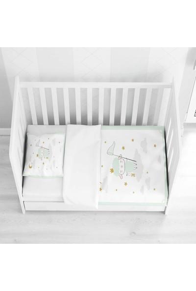 Else Halı Else Yeşil Gri Sevimli Kuzucuk 3D Desenli Bebek Nevresim Takımı