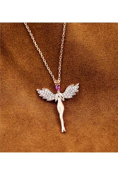 Lotus Gümüş Melek Figürlü Taşlı 925 Ayar Gümüş Kadın Kolye