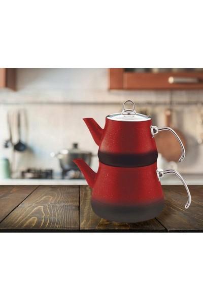 Remetta Granit Metal Çaydanlık Aşiret Boy 4 + 2 lt Red