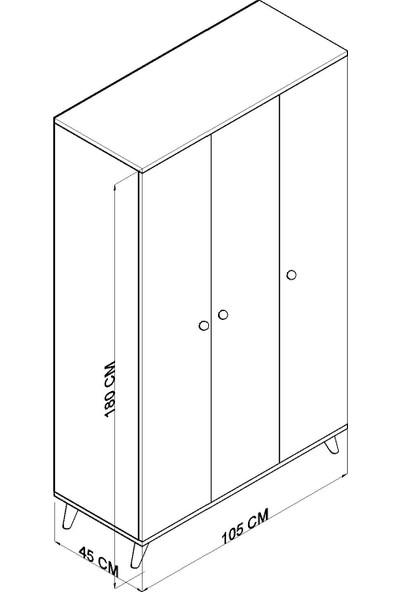 Tocco 1081 Izel 3 Kapaklı Askılıklı Raflı Lüx Gardırop