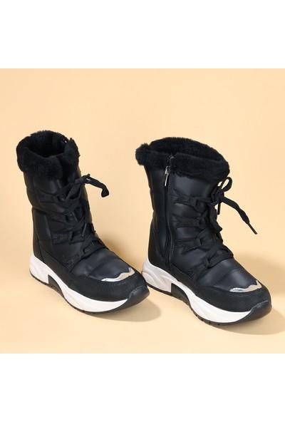 Kiko Twg 7455 Kışlık Içi Termal Kürklü Kız Çocuk Ayakkabı Kar Botu Siyah