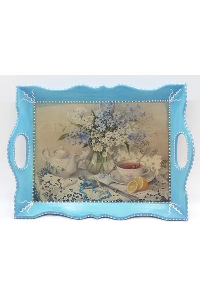 Wooden Style Dekoratif Mdf Vintage Nostaljik Mavi Çay Kahve Kahvaltı Tepsisi 35 x 26 x 5cm