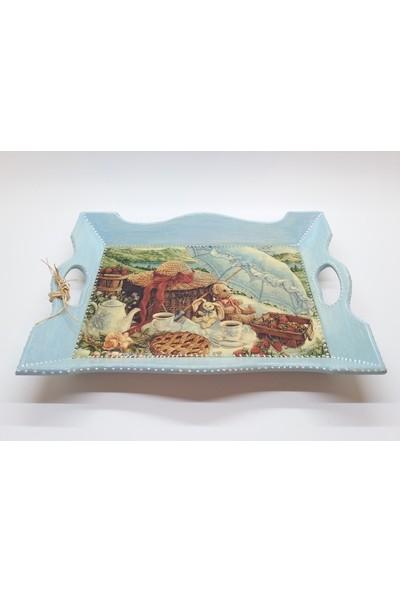 Wooden Style Dekoratif Mdf Vintage Nostaljik Açık Mavi Çay Kahve Kahvaltı Tepsisi 34 x 26 x 5 cm