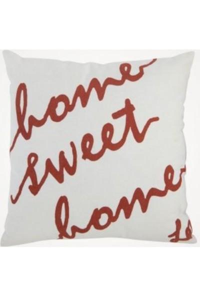Mlstil Home Sweet Home Krem Pamuklu Kare 40 x 40 cm