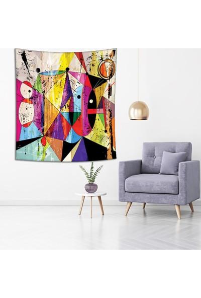 Henge Yağlı Boya Etkili Renkli Geometrik Desenli Duvar Perdesi - Duvar Örtüsü