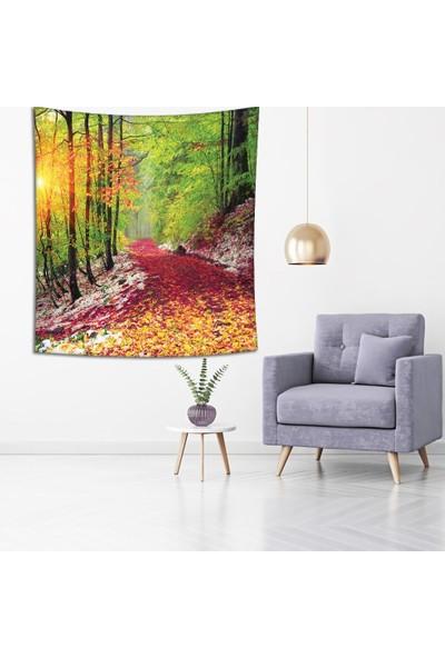 Henge Romantik Kırmızı Sarı Sonbahar Yapraklı Yol Duvar Perdesi - Duvar Örtüsü