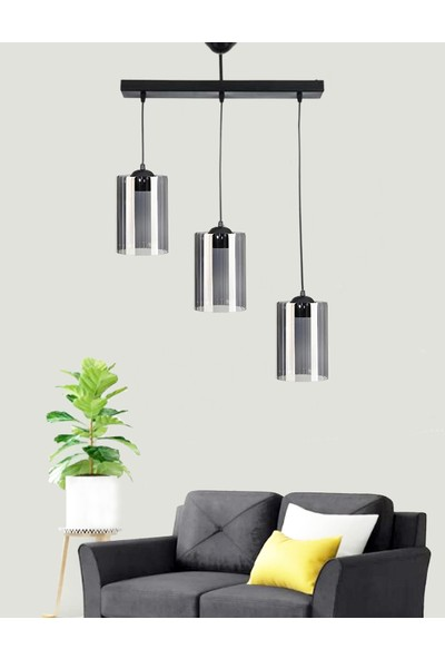 Etsylight Dora Black Sıralı Lüx 3 Salon Avize