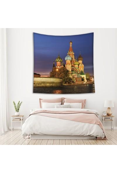 Henge Gece Kızıl Meydan Moskova Manzara Desenli Duvar Perdesi - Duvar Örtüsü