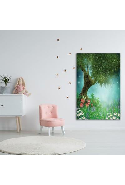 Henge Fantastik Orman Ağaç Desenli Yeşil Duvar Perdesi - Duvar Örtüsü