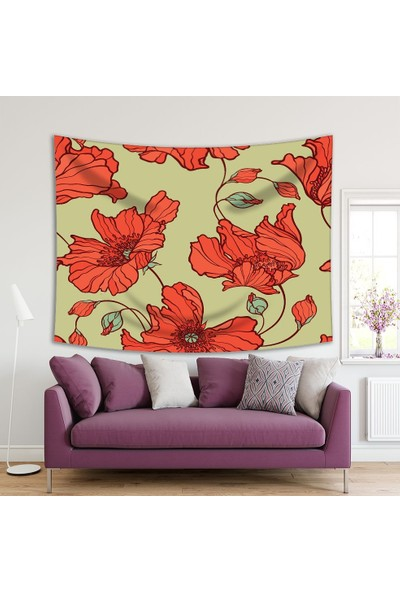 Henge Turuncu Çiçek Desenli Krem Rengi Duvar Perdesi - Duvar Örtüsü