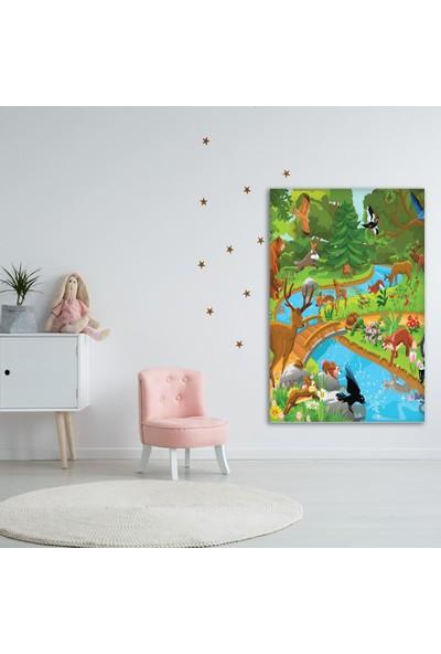 Henge Çocuklar Için Sevimli Hayvan Desenli Duvar Perdesi - Duvar Örtüsü
