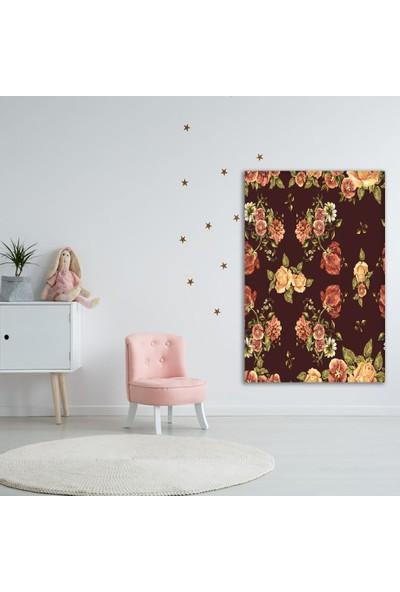 Henge Sulu Boya Etkili Lale Çiçek Desenli Bordo Duvar Perdesi - Duvar Örtüsü