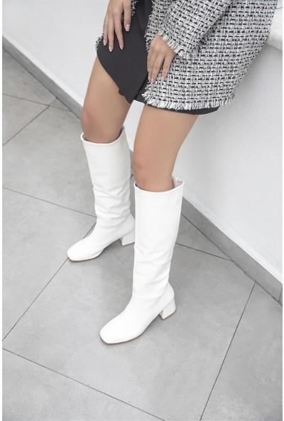 Straswans Onika Kadın Küt Burun Deri Çizme Beyaz
