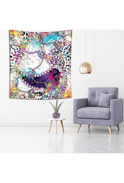 Henge Zincir Leopar Çiçek Desenli Mor Mavi Duvar Perdesi - Duvar Örtüsü