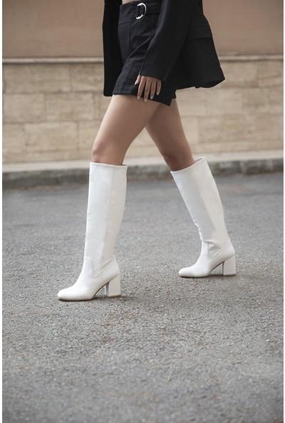 Straswans Tina Kadın Küt Burun Deri Çizme Beyaz