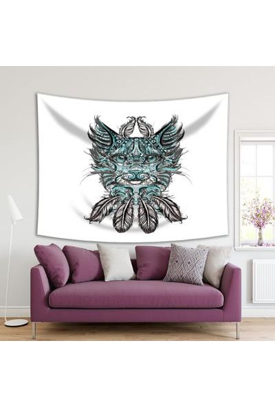 Henge Kedi Kafa Tüy Desenli Yeşil Siyah Duvar Perdesi - Duvar Örtüsü