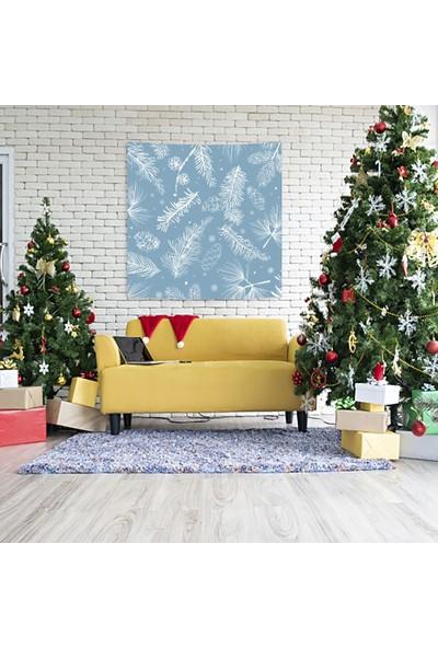 Henge Mavi Noel Kar Taneleri Çam Kozalakları ve Dalları Duvar Perdesi - Duvar Örtüsü