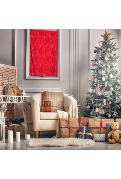 Henge Noel Kırmızı Nar Çiçeği Renkli Ökse Otu ile Yıldızlar Duvar Perdesi - Duvar Örtüsü