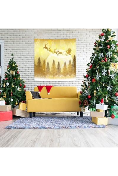 Henge Sarı Gece Ağaçlar Üzerinde Uçan Kızaklı Noel Baba Duvar Perdesi - Duvar Örtüsü