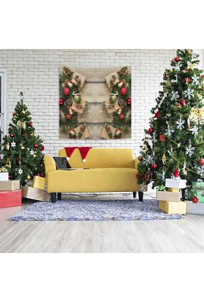 Henge Ahşap Masa Çam Kozalakları Ile Noel Hediye Paketleri Duvar Perdesi - Duvar Örtüsü
