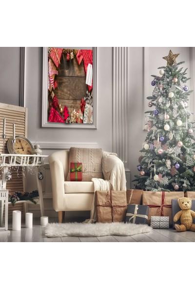 Henge Kırmızı Çam Kozalak Hediye Paketleri Noel Yılbaşı Duvar Perdesi - Duvar Örtüsü